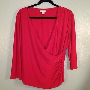 Coldwater Creek red faux wrap top size XL
